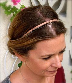 Headband Beandeau pour cheveux ruban cuir vert par ValouParisIzmir
