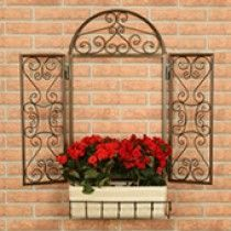 Garden Art, Garden Design, Outdoor Walls, Outdoor Decor, Wrought Iron Decor, Faux Window, Iron Furniture, Tuscan Decorating, Plant Decor