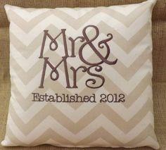 Mr. & Mrs. Chevron Pillow 14 x 14 pillow by ElegantThreadsEtc