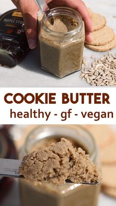 Healthy Cookie Butter Recipe - vegan and gluten-free. Does not contain any wheat, refined sugar or oil. Nut-free and full of healthy ingredients. High in protein due to containing seeds so also known as protein cookie butter. Can be made raw vegan with sprouted seeds or in a normal oven. This is perfect spread on brownies, frosting for cakes, on pancakes, spread on a cookie or just anywhere that you would use normal peanut butter #vegan #healthy #veganrecipe