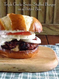 Triple Garlic Swiss-Stuffed Burger on a Pretzel Bun