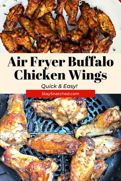 Air Fryer Crispy Buffalo Chicken Hot Wings (Keto Low-Carb) is a quick and easy recipe that uses a marinade and dry rub to perfectly season the chicken. Diet Dinner Recipes, Air Fryer Dinner Recipes, Delicious Dinner Recipes, Air Fryer Recipes, Keto Dinner, Easy Weeknight Dinners, Quick Easy Meals, Low Carb Chicken Recipes, Healthy Recipes