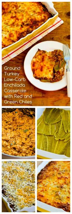 Whole green chiles replace the tortillas in this Ground Turkey Low-Carb Enchilada Casserole with Red and Green Chiles.  Look for the whole chiles at a Mexican market if your store doesn't have them.  [from KalynsKitchen.com]