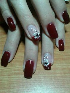 This would be pretty Christmas nails. Just replace the flower with Holly. Beautiful Nail Designs, Cool Nail Designs, Fancy Nails, Red Nails, Burgundy Nails, Gorgeous Nails, Pretty Nails, Fingernail Designs, New Nail Art