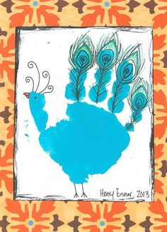 peacock handprint, handprint animals, bird handprint: