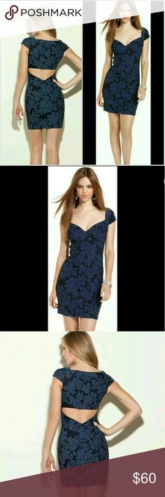 Guess Camilles Floral Jacquard Dress Size 6 Revolutionary denim technology constructs this floral jacquard dress with a high amount of stretch to give you a sexy, curve-hugging fit. It?s the latest way to dress up your denim.  Sweetheart neckline. Cap sleeves. Formfitting.  Floral jacquard motif. Cutout back.  Side-seam zipper Measures approximately 33 ?? from shoulder to hem 70% Cotton, 27% Cuprammonium Rayon, 3% Elastane Machine wash Measurement taken from a size 6  please be advised the…