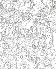 Angel Coloring Pages, Printable Adult Coloring Pages, Coloring Pages To Print, Colouring Pages, Coloring Books, Free Coloring, Line Art Images, Line Artwork, Bunt