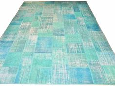 Overdyed PATCHWORK RUG, Vintage Turkish Carpets, Turquoise Blue or CUSTOM COLORS in Home & Garden | eBay
