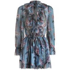 ZIMMERMANN Winsome Ruffle Playsuit ($475) ❤ liked on Polyvore featuring jumpsuits, rompers, long-sleeve romper, blue rompers, blue floral romper, floral print romper and short romper