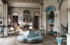 French antique dealer and interior designer Madeleine Castaing's (1894-1992) manor in Lèves, France. It was in this magnificent Directoire style mansion set in a park, a gift from her mother-in-law, that Castaing's career as a designer truly began. Artfully arranged on the famous ocelot rug - a typical Castaing touch - nineteenth century ceramic stools, seats and armchairs from a variety of sources became sculptures in their own right. The legendary Castaing blue is everywhere. - Room On…