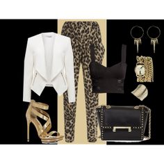 """gold/leopard/white outfit idea""Things to wear with leopard harem pants"