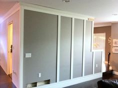 If you guessed from my post yesterday that my little project had something to do with our living and dining room walls you were right on! Stripped Wall, Nordic Living Room, Dining Room Walls, Wainscoting, Wall Treatments, Home Renovation, Wood Wall, Locker Storage, House