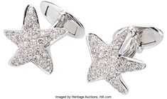 Estate Jewelry:Cufflinks, Diamond, White Gold Cuff Links, Assil. ...