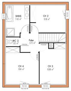 M² Chambres étage VUE RDC Plan Maison In - Plan etage 4 chambres