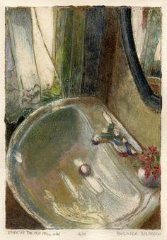 Belinda Del Pesco Fine Art Blog: Collagraph printmaking : Sink at the Old Mill Inn