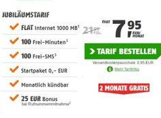Klarmobil: GByte-Datenflat im Vodafone-Netz für zwei Monate gratis https://www.discountfan.de/artikel/tablets_und_handys/klarmobil-gbyte-datenflat-im-vodafone-netz-fuer-zwei-monate-gratis.php Via Klarmobil erhält man ab sofort eine monatlich kündbare GByte-Datenflat im D-Netz inklusive 100 Freiminuten und 100 Frei-SMS für 7,95 Euro. Die ersten zwei Monate sind komplett gratis, der Tarif ist obendrein monatlich kündbar. Klarmobil: GByte-Datenflat im Vodafone-Netz für z