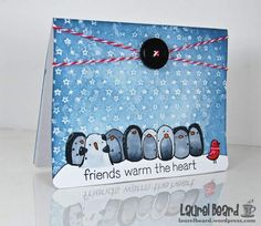 Winter Card using Distress Inks and Penny Black and Hero Arts stamps