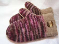 Cranberry Tan Felted Mittens Very Warm and by DesignsbyFredericka, $35.00