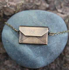 a secret note envelope necklace by lizlamoreux on Etsy, $25.00