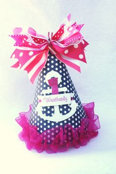 Nautical Anchor Birthday Party Hat for a GIRL!