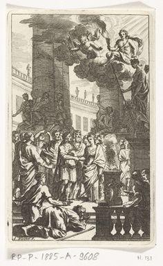 Abraham Bloteling | Bruiloftsscène met priester en publiek, Abraham Bloteling, Zacharias Webber (II), c. 1677 | Een bruiloft wordt voltrokken op een binnenplaats. Tussen het bruidspaar in staat een priester. Naast het bruidspaar brandt een vuur. Omstanders proberen een blik op het paar te werpen. Sommigen klimmen zelfs op de basementen van de pilaren van de tempel om toch iets te kunnen zien.