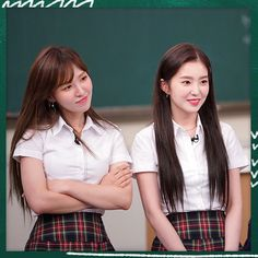 Red Velvet- Wendy and Irene Kpop Girl Groups, Korean Girl Groups, Kpop Girls, Wendy Red Velvet, Red Velvet Irene, Seulgi, School Uniform Girls, Velvet Fashion, South Korean Girls