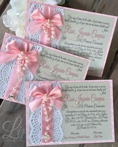 It's all about the details!  Rose Jazmin's First Communion | Todo se trata de los detalles /  primera comunión / invitaciones / craft / lace / invitations / baptism / cards / paper goods / paper creations / christening invitations #christening #pink