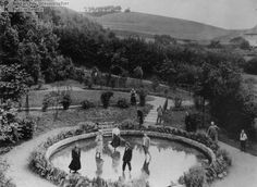 A Sanatorium in the Harz Mountains (1907)  Sanatoria were popular spots for rest and relaxation. The photograph below shows guests wading in a sanatorium pool in Nordhausen in the Harz Mountains. For those who could afford it, sanatoria offered an escape from the stresses of city life and a chance to commune with nature in the quiet of the countryside.
