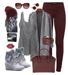 """""""Gray/bordeux"""" by keila-87 on Polyvore featuring moda, J Brand, JustFab, Givenchy, Lime Crime, Christian Dior, Sif Jakobs Jewellery, Lalique e Yves Saint Laurent"""