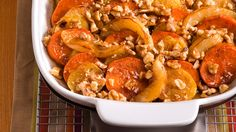 This sweet potato casserole includes so many of our favorite fall flavors, it's even drizzled w/ maple syrup!