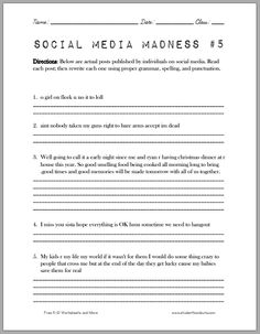 Printables Fun Grammar Worksheets english language and on pinterest social media madness worksheet another fun which asks high school students to correct facebook twitter posts for grammar spelling