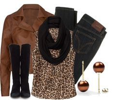 """""""Black & Brown: Leopard"""" by qtpiekelso on Polyvore ...Ooh, I really like this. Leopard and cheetah prints are one of the few ways I think you can mix black and brown in an outfit, and this was very successfully done. Great job, and lovely outfit! :)"""