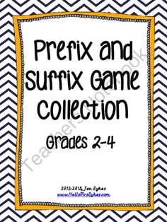 Prefix and Suffix Game Collection - CCSS Grades 2-4 from HelloMrsSykes on TeachersNotebook.com (43 pages)  $$