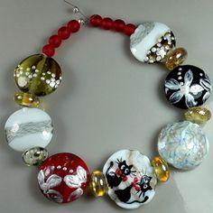 """TRIZAS-ORIGINAL  Handmade lampwork bead """"cats at christmas"""" TOS0504 SRA #TRIZASOriginal #Lampwork"""