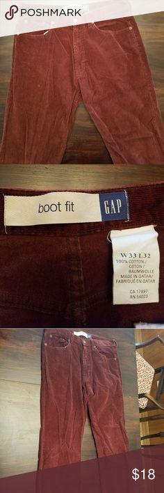 Vintage maroon GAP men's corduroy pant Great condition vintage corduroy pants Boot cut GAP  Fun maroon color Size 33/32  100% cotton GAP Pants Corduroy