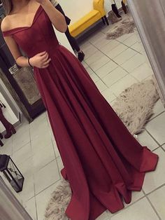 Long Prom Dress, Burgundy Prom Dress, Off The