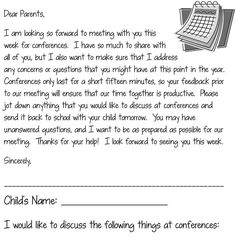 Parent Teacher Conference letter allowing parents to ask questions and focus on certain areas during the conference. Parent Teacher Conference Forms, Parent Teacher Meeting, Parent Teacher Communication, Parent Teacher Conferences, Meet The Teacher, Family Communication, Notes To Parents, Letter To Parents, Parents As Teachers