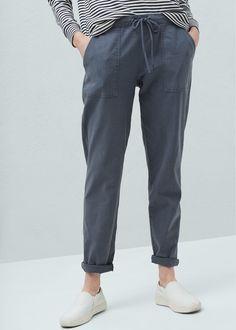 Pantalon lin à poches - Femme