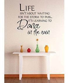 Vinyl Wall Decal Sticker  Life Isnt About Waiting For The Storm To Pass Its Learning To Dance In The Rain Quote Bedroom Bathroom Living Room Picture Art Peel  Stick Mural Size 20 Inches X 20 Inches  22 Colors Available ** You can get additional details at the image link.