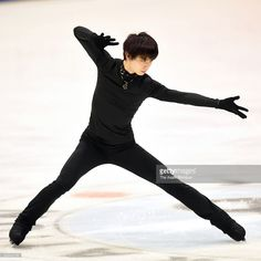 Yuzuru Hanyu in action during a training session ahead of the 2015 Japan Figure Skating Championships at the Makomanai Ice Arena on December 24, 2015 in Sapporo, Hokkaido, Japan.