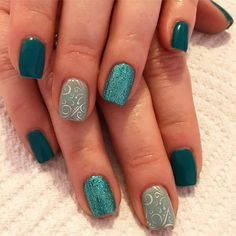 Blue lagoon nails. Turquoise nails. Gel nails. Glitter nails. Pretty nails. Silver nails. Teal nails.