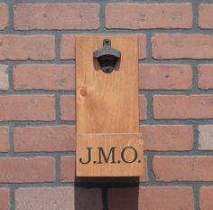 Personalized Wall Mounted Wood Bottle Opener w/ Cap Catcher & Easy Removal…