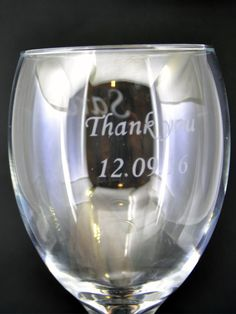 Etched Thank You Wedding Wine Glass Design