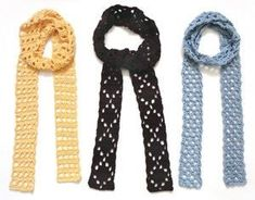FREE CROCHET PATTERNS: 10 Scarves to Crochet This Summer ; Who said scarves are only for the cold winter months? If you're a fashionista, you're bound to be wearing scarves all year around. Check them out now. Crochet Scarves, Crochet Clothes, Crochet Beanie, Crochet Hats, Diy Scarf, Lace Scarf, Skinny Scarves, Crochet Fashion, Diy Crochet