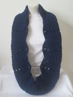 Chunky Infinity Wavy Scarf,Thick and Warm and Chunky- Soft Navy...Free Matching beanie hat with pom poms by VansBasicWear on Etsy