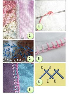 (1) Portuguese knotted stem stitch from KerryKatieCakes (2) Knotted feather stitch from Tanglewood Threads (3) Portuguese braid stitch from KerryKatieCakes (4) Eyelets from Agulhas da Meri (5) Knot…