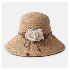 Raffia crochet straw hat for women UV flower beach sun hats package