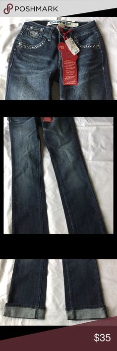 NWT Limited Too Justice Embellished Denim Jeans Straight leg. Color dark wash. Size 12 Slim. Brand new with tags.  No trades.  No low balls. For better prices and FREE SHIPPING check out my EBay. User ID:  jrzchck Limited Too Bottoms Jeans