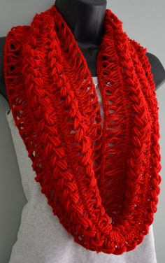 Beautiful Red Crochet Infinity Scarf  LAST ONE by Beautifulcrochet, $20.00