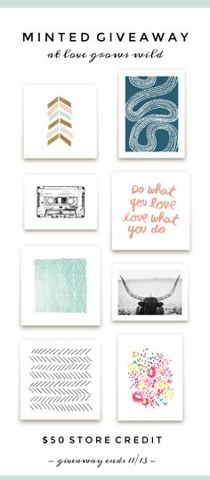 Decorate your home with some new art prints from Minted.com!  Enter to win at LoveGrowsWild.com - Hurry, ends 11/13!